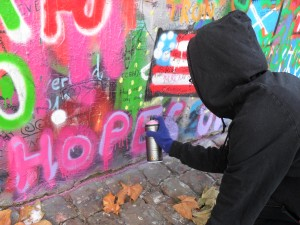 This is me. I look a lot more sketchy/ like a graffiti artist than I realized with my hood up, but I didn't want to wear my nice parka because when I used to spray paint sets for theater, I got backspray on my clothes.